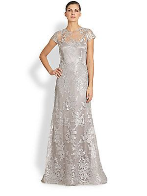Silvery Metallic embroidered lace looks flattering Teri Jon Metallic Embroidered-Lace Gown