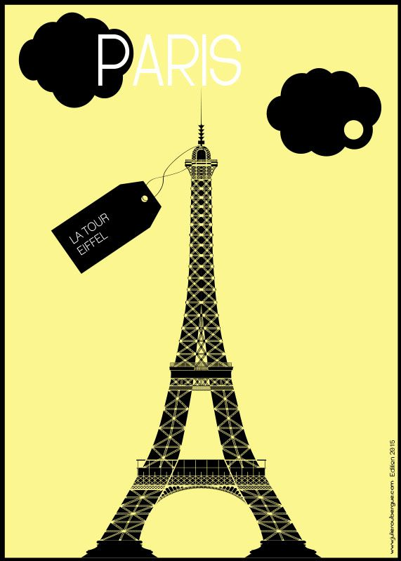 La Tour Eiffel Light Yellow - Poster 50x70cm or 30x40cm