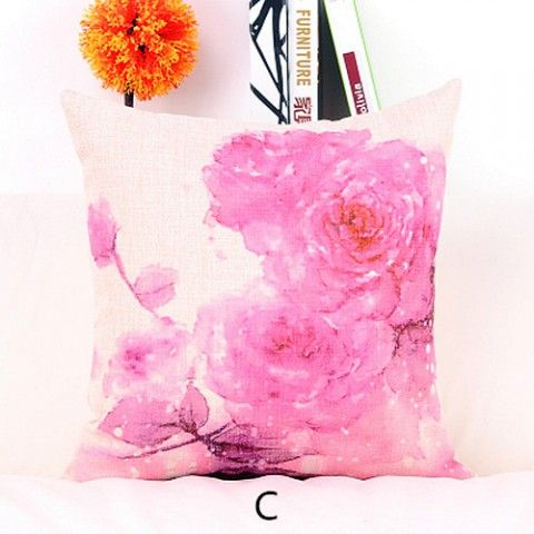 Watercolor flower throw pillows for couch pastoral style linen cushions