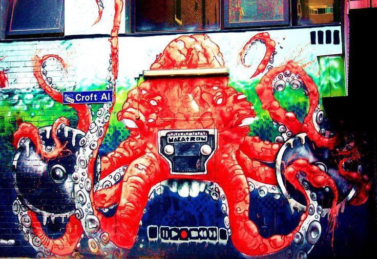 Croft Al - Beat Box Octopus - Melbourne Street Art #Melbourne #GraffitArt #StreetArt