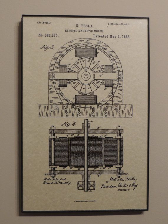 Tesla Electric Motor 1888 Wall Art Poster by PatentPrints on Etsy, $6.99
