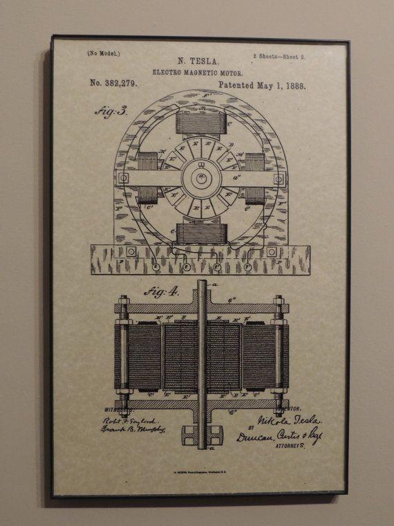 Tesla Electric Motor 1888 Wall Art Poster