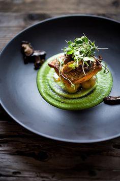 Pan-Seared Steelhead w/ Mushrooms, New Potatoes & Truffled Spring Pea Sauce + Holidays + Elegant Dinner Party + Easy + Food Presentation.