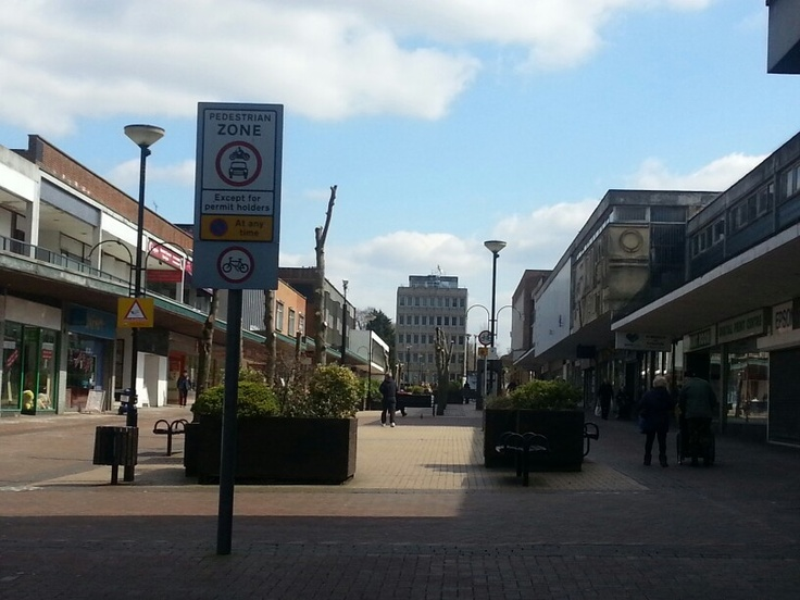 "Bracknell town centre deserted. Also ""love"" the cut trees."
