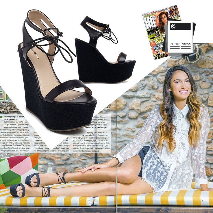 Stunning Anna Prelevic at Ego Weekly magazine wearing #MIGATO DH0111 black lace up wedges. SHOP NOW ON SALE ► migato.com/en/woman/shoes/platforms/ #celebrity #magazine #wedges