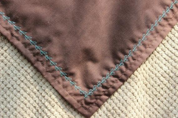 Dog Bandana with Baby Blue Leaf Stitch on Brown by MarysBigSheep, $12.00