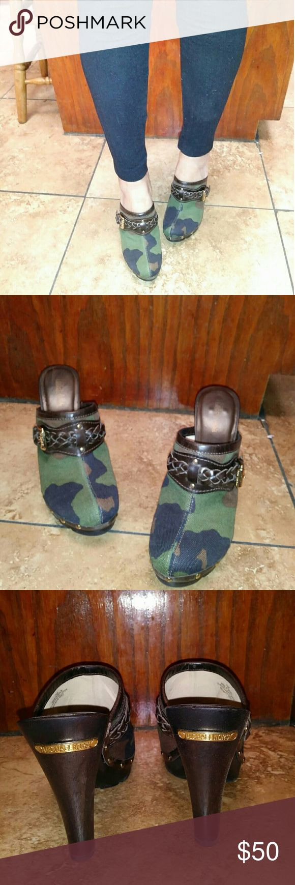 Michael Kors Camo Clogs! These heels have no stains or tears, and they're super comfy. Michael Kors Shoes Mules & Clogs
