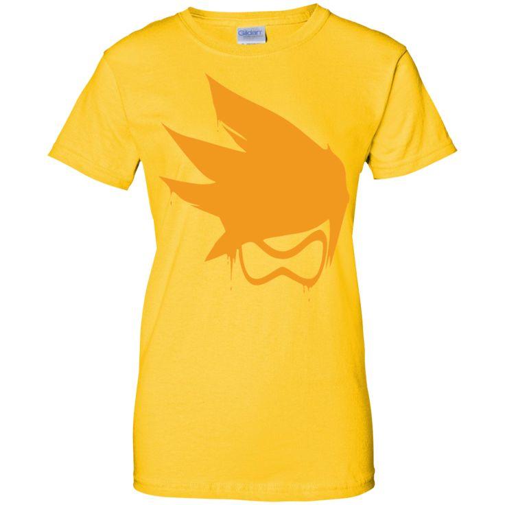 Overwatch Tracer Orange Spray Tee Shirt-01 Ladies Custom 100% Cotton T-Shirt