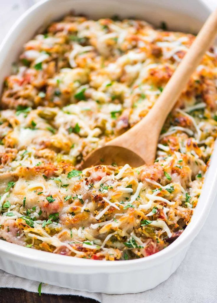 Healthy Spaghetti Squash Casserole. Easy, cheesy, and DELICIOUS. A low carb dinner your whole family will love! Recipe at wellplated.com | @wellplated