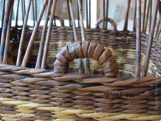 Поделка изделие Плетение Корзина и подставочки + мини мк дна и ручек в корзине Бумага Трубочки бумажные фото 12