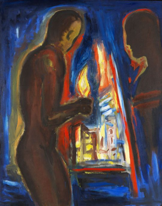 Helmut Middendorf (German, b. 1953), Figure and Light, 1986. Dispersion and oil on canvas, 62.5 x 130 cm