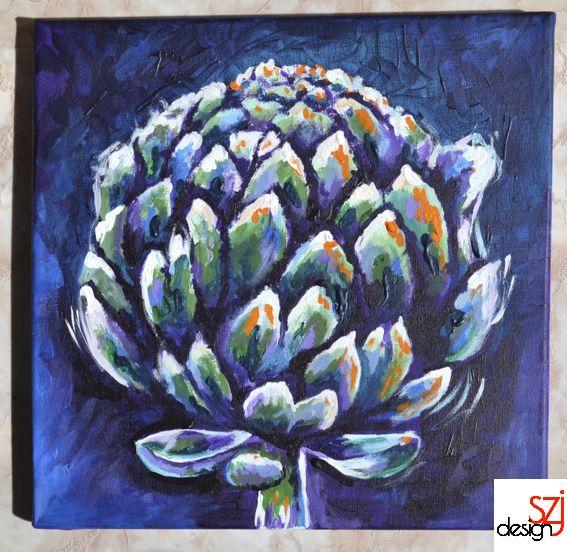 szjdesign: paintings, acrylic, canvas, art, My artichoke (Italian memories I.)