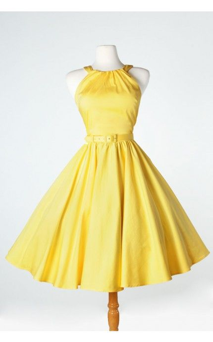 Harley Dress with self belt in pastel yellow