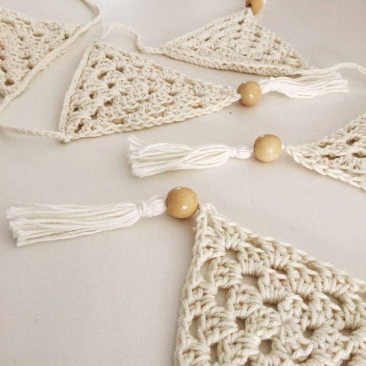 $34 Crochet Bunting 10 Triangles