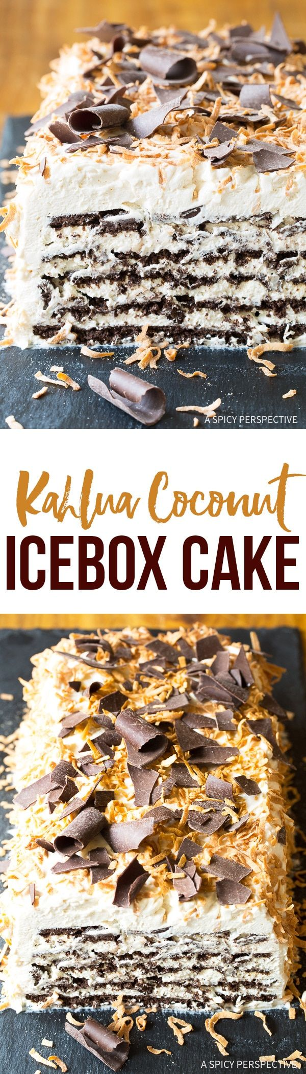Kahlua Coconut Icebox Cake Recipe for Valentines Day - A simple, yet elegant, boozy dessert that can be made in minutes. Best Ice Box Cake Ever! via @spicyperspectiv