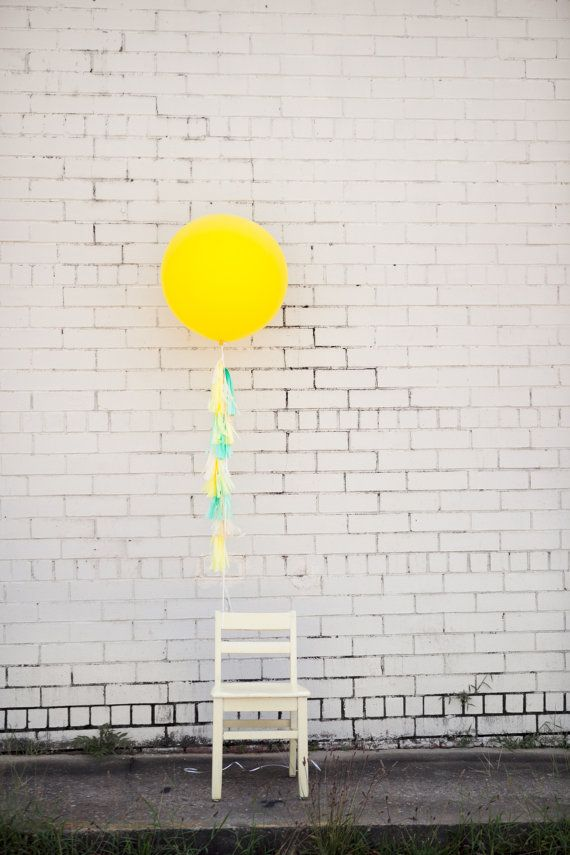 Balloon Tassels Mint and Yellow by tuckandbonte on Etsy