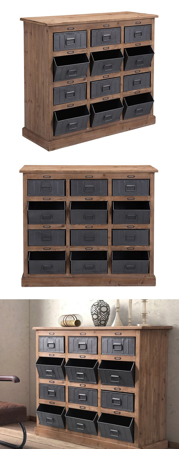Dot and Bo Choose a storage solution with industrial strength. Our Carter Cabinet is made with fir wood and features twelve steel-finished metal bins. Multiple drawers are designed with a fixed, open tilt for add...  Find the Carter Cabinet, as seen in the Our Industrial FAVORITES Collection at http://dotandbo.com/collections/our-industrial-favorites?utm_source=pinterest