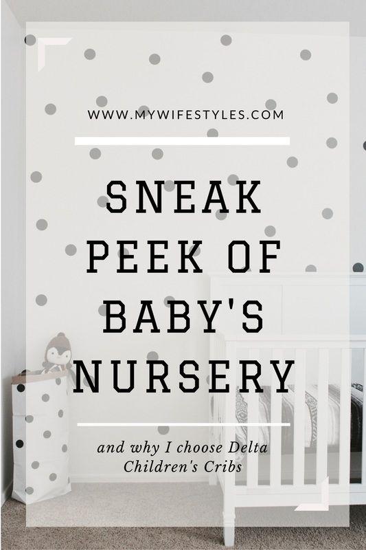 Sneak peek of baby boys nursery with Delta Crib. Polka dots. grays, blacks, and white baby nursery.