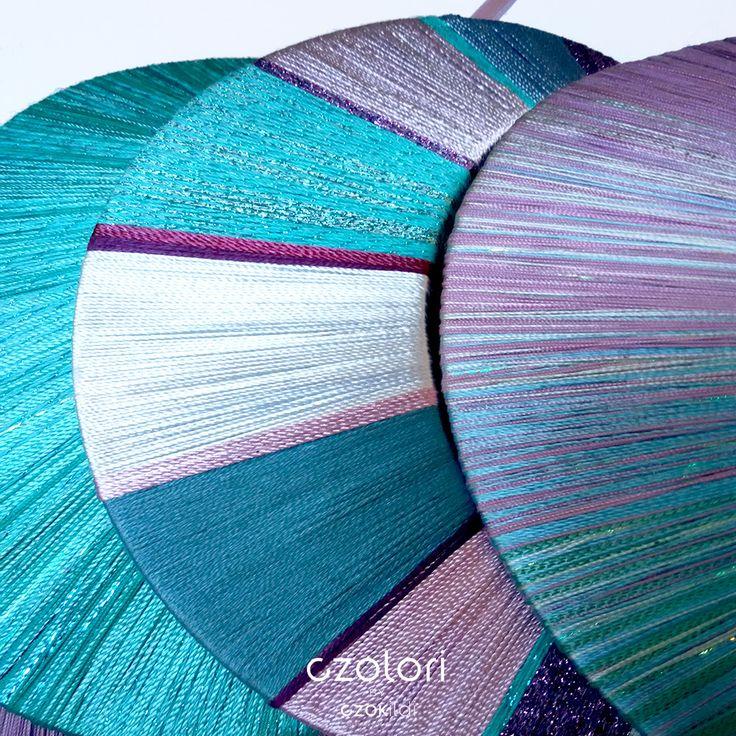 Yarn wrapped rainbow jewellery by Czolori http://czokildihu.bigcartel.com/
