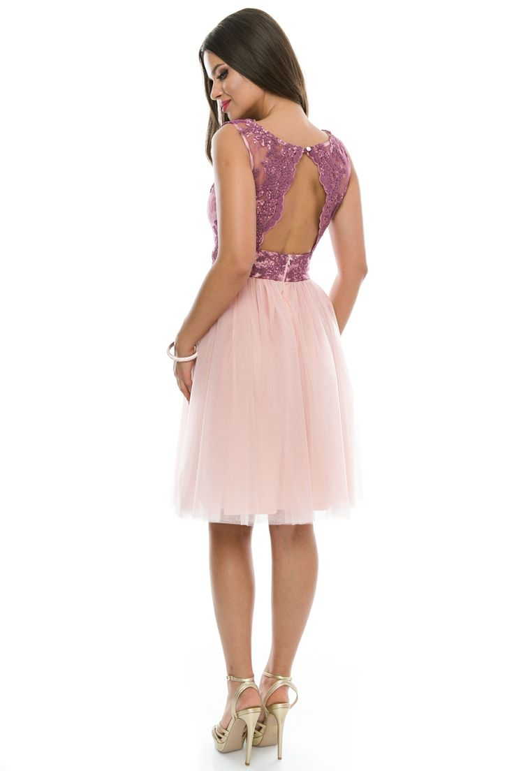 Rochie scurta din dantela si tulle cu spate gol #purple #pink #dress #elegant #summercollection #2016