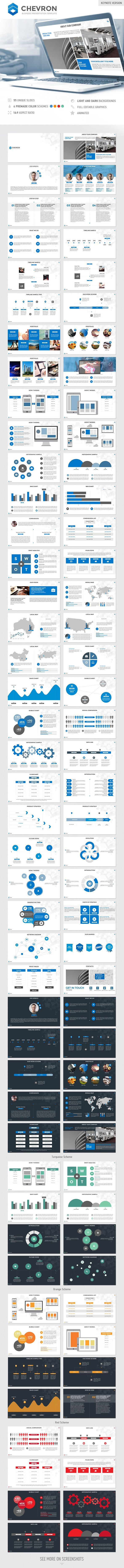 Chevron Keynote Presentation Template - Business Keynote Templates