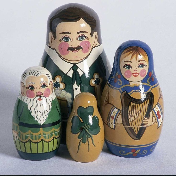Russian Folk Art Saint Patrick's Nesting Dolls Set of 4 The Largest Wooden Folk Art Figure In This Set is Approx 4.25 Inches Tall by European Expressions This unique nesting doll set features four cha