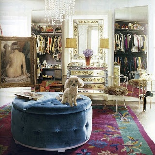Dressing room inspiration. Like the Ottoman. Also like turquoise and purple #interiors #dressingroom