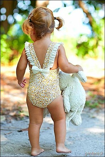 bathing suit cuteness, omg so cute!! If I ever have a little girl she will not wear a 2 piece until she is like a teenager, I think it's so gross when people put their kids in bikinis when they are babies and toddlers and so young!!!!
