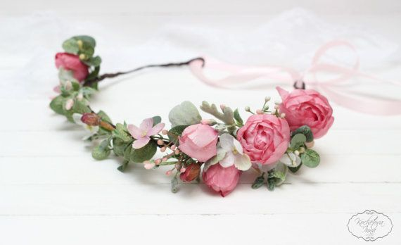 Pink peony eucalyptus flower crown  Bridal floral by ByKochetova