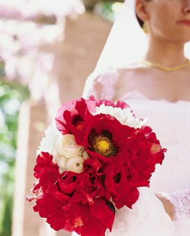 Destination Wedding Style: Santa Fe -- Bouquet of Festiva Maxima peonies, ranunculus, Parrot tulips and poppies, $350, by Ariella Chezar.