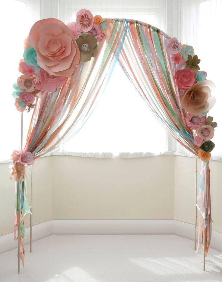 Bridal shower photo wall idea? I love making crepe paper flowers