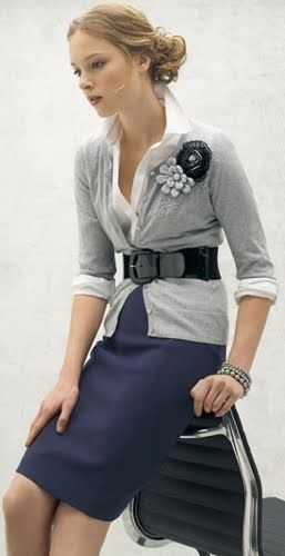 Navy Pencil Skirt, White Shirt, Grey Cardigan Sweater, Bracelet & Brooch = Classy Outfit!