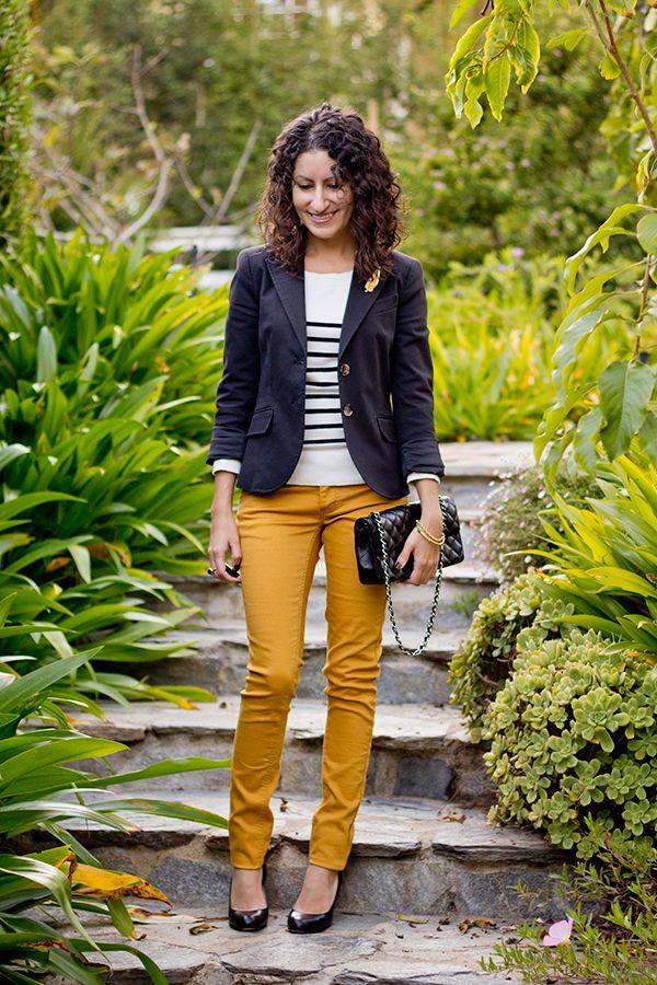 Pantalon moutarde+marinière+veste marine