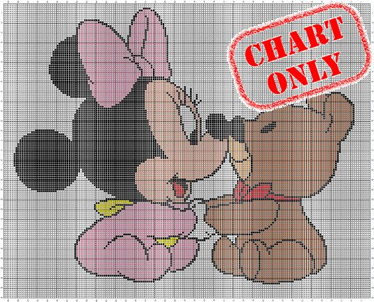 Super cute crochet / knitting chart - Minnie Mouse cuddling with her teddy bear!