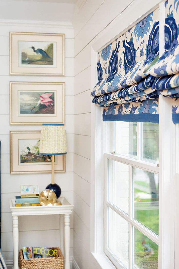 Maddie G Designs Guest Bedroom with Shiplap Walls, Audubon Print Gallery Wall, Custom Fabric Lampshades and Brunschwig & Fils fabric on window treatments