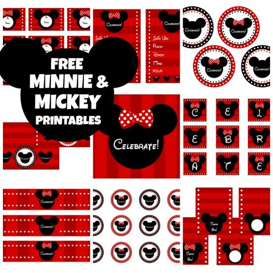 FREE Full Set of Minnie and Mickey Party Printables -- can be personalized!!!
