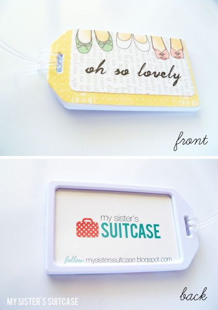Custom Luggage Tags -- giveaways for travel-themed weddings/parties; keep-in-touch reunion souvenirs