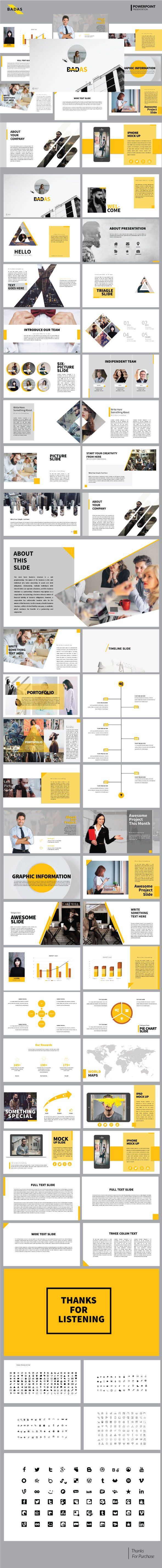 Badas - Creative Multipurpose Presentation Templates - PowerPoint Templates Presentation Templates, #PowerPoint #Templates  Download here:  https://graphicriver.net/item/badas-creative-multipurpose-presentation-templates/20420094?ref=alena994