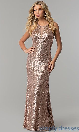 572d270505b1 Open-Back Sequined Long Rose Gold Prom Dress | Sister Bridesmaids ...