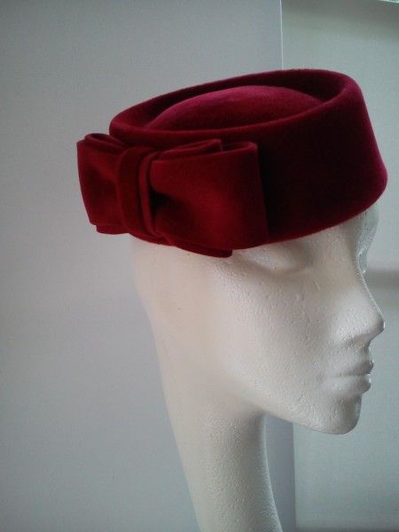 Dark Red Velour Pillbox Hat by KAREN GERAGHTY #millinery #HatAcademy
