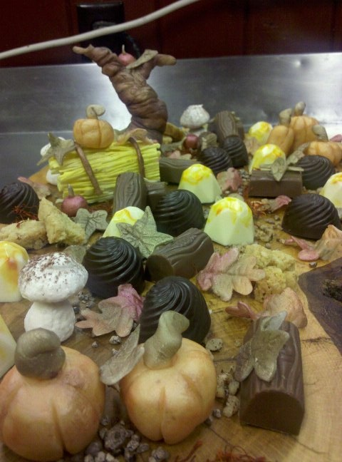 Modeling chocolate creations by Pastry Chef Charlene.