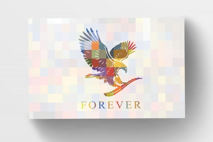 Forever Living Business Cards -Squares.Mosaic of transparent coloured squares with the Forever Living Eagle. Complimented with a contrasting square mosaic
