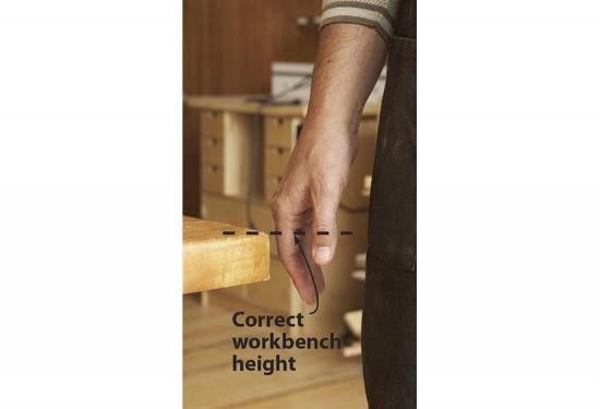 """There's no such thing as one size fits all when it comes to workbench height. An inch or two plus or minus can make a big difference, depending on how your bench will be used. The standard height of 34"""" matches most tablesaw heights, allowing the workbench to double as an outfeed support. Many hand-tool woodworkers, though, prefer a bench 1 or 2 inches lower, allowing more leverage for hand-plane and chisel use. If you're mainly a power-tool woodworker, adding a couple of inches might ma..."""