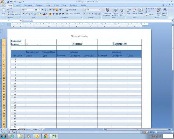 Income And Expense Register Excel Spreadsheet Template