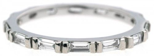 Bario Neal Baguette Diamond Band in White Gold