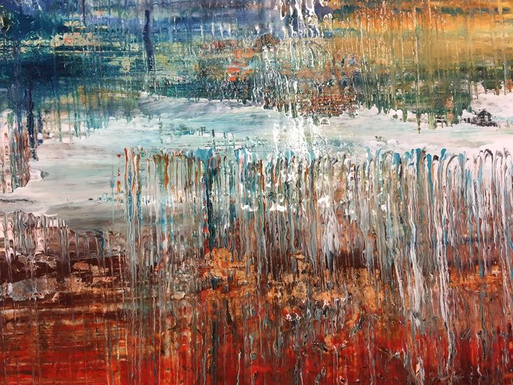 Drag painting detail - Golden Clear Tar Gel and Fluid Acrylics