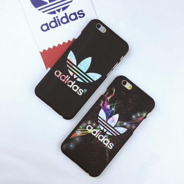 Adidasおしゃれブランド夜光マット素材スマホケースiPhone7/7 Plus/6S plusアイフォン5S縞模様携帯カバーかっこいい男女向け