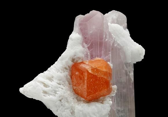 A well formed orange crystal of Spessartine measuring to 1.4cm sits at the central area of the specimen contrasting with the pastel pink Spodumene variety Kunzite and the white Albite from Dara-i-Pech, Afghanistan.