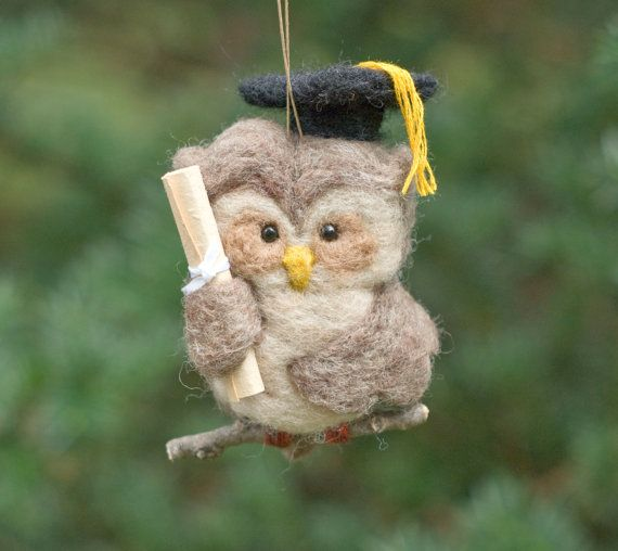 Aguja de fieltro buho adorno graduación