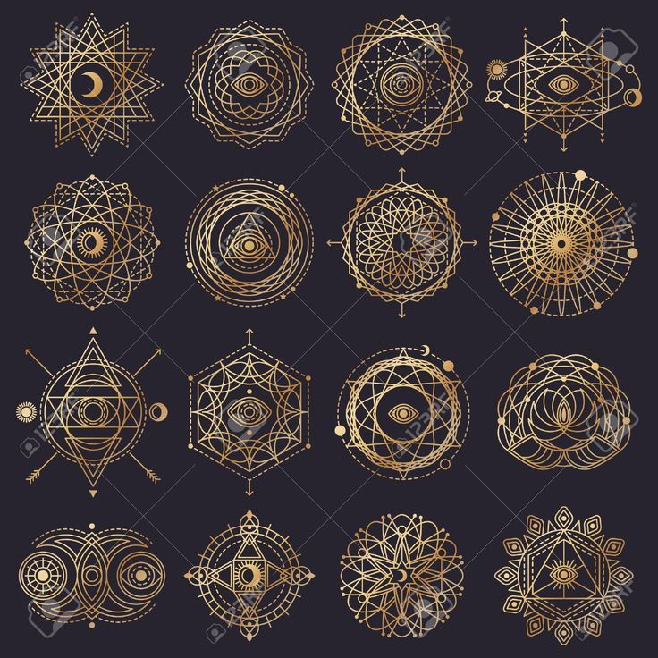 Sacred Geometry Forms with Eye, Moon, Sun. Vector illustration